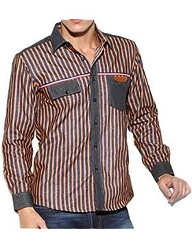 Shirt Bavero Cotone A Righe Allentata Camicia A Maniche Lunghe Casuale Degli Uomini Grandi Dimensioni