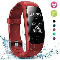 moreFit Slim Touch Wasserdicht Fitness Tracker Mit Herzfrequenz,Smart Fitness Armbanduhr Pulsuhr Schrittzähler,Bluetooth Schwimmen Activity Tracker Gps Für Damen/Herren,Rot