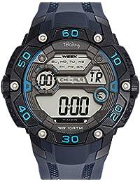 Tekday-655901-Reloj-hombre cuarzo, Digital, correa de plástico, diseño de esfera, color negro y azul