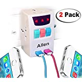 2 Pack All In One Universal Travel Adapter 2 Amp Indian Pin To Multi 3 Pin Plug Power Adapter 2 Ampere With 2 USB Port - White