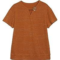 SLR Camiseta de Manga Corta Mujer Verano Suelta de Gran tamaño Camisa de Cuello Redondo Plata Color sólido Bat T-Shirt,marrón,XXL