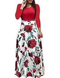 Amphia Vestido De Lunares Mujer, Mujer Vestido Fiesta Vintage Floral Impresa Dos Piezas de Cóctel