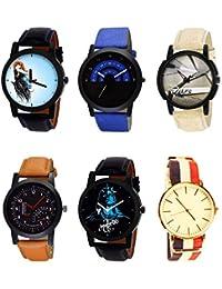 NIKOLA New 3D Design Mahadev Smokey Black Blue And Brown Color 6 Watch Combo (B22-B47-B20-B29-B23-B50) For Boys...