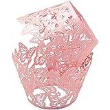 """Yuyikes Lot de 50décorations pour cupcakes/muffins en dentelle de papier Découpe laser Motif papillons dansants, rose, 1.96""""/5.0cmX 3.14""""/8.0cmX1.96""""/5.0cm."""