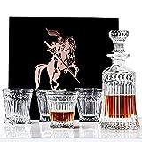 Decanter da Whiskey Bottiglie e Bicchieri Whisky,in Cristallo Senza Piombo con 4 Bicchieri in Elegante Confezione Regalo per Brandy,Scotch,Bourbon,Liquori,Vodka