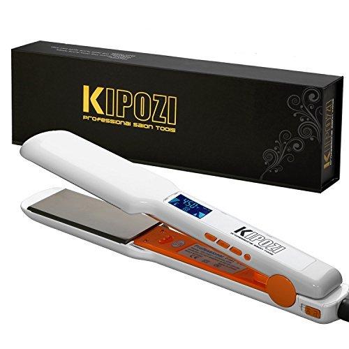 KIPOZI Pro - Alisador de pelo de nano-titanio con pantalla LCD digital de doble voltaje, calor instantáneo, regalo para el día de la madre 1,75 ¡Â '', placa ancha (blanco)