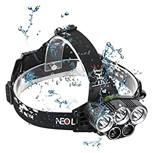 Neolight LED Head Torch, USB Rechargeable Super Bright 8000 Lumens Headlamp, 6 Modes Waterproof Headlight for Camping Walking Running Cycling Hiking Fishing Hunting