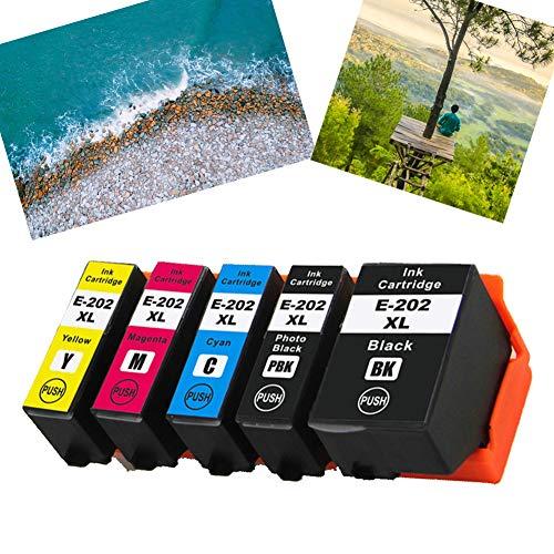 Ouguan 202 XL Compatibile Epson 202XL Cartucce d'inchiostro Alta Capacità Compatibile per Epson Expression Premium XP-6000 XP-6005 XP-6001(1 Nero,1 Foto Nero,1 Ciano,1 Magenta,1 Giallo)