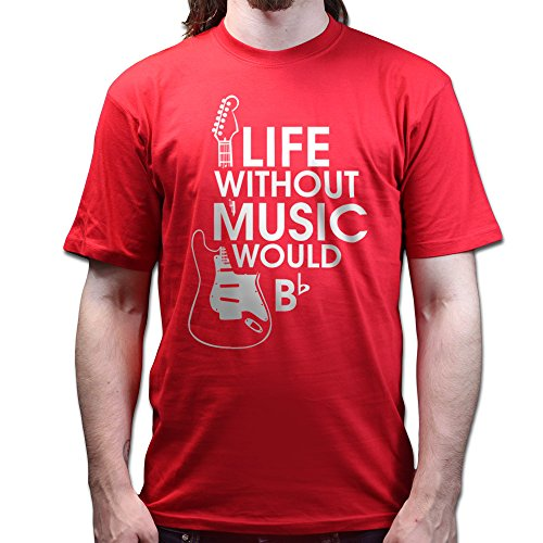 Life Without Music Would Be Flat Bb American Standard Led Paul Strat T-shirt Rot