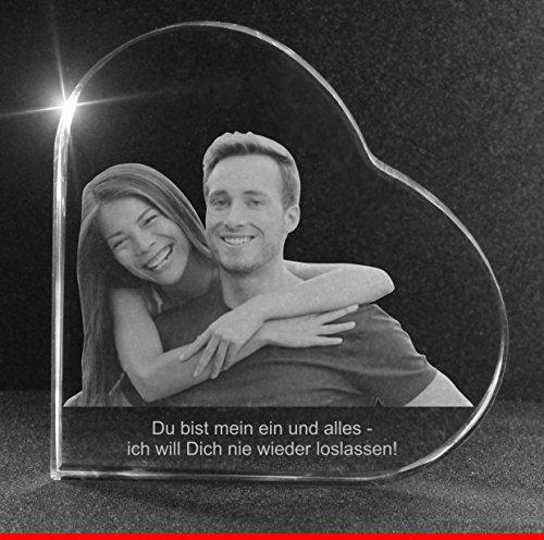 VIP-LASER 2D GRAVUR Glasherz L mit Deinem Partnerfoto von Deinem Freund oder Freundin. Dein Wunschfoto für die Ewigkeit mitten in Glas! Groesse L = 60x60x19mm