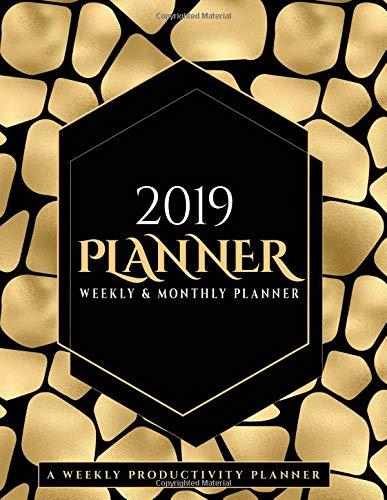and Monthly: Calendar Organizer Black and Gold Safari Animal Print Giraffe Themed Journal Notebook ()