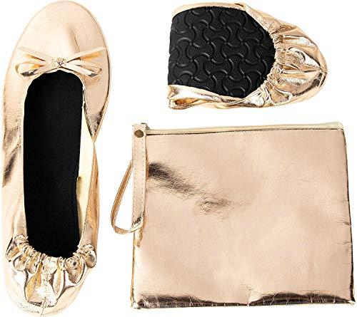 Rose Cheeks Pisos de Ballet Plegables - Bailarina portátil de Las Mujeres ruedan para Arriba los Zapatos con la Bolsa, Desnuda, m