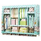 XIAONUA Kleiderschrank Kleiderschrank tragbar, Schrank Speicher-Organisator-System für Schlafzimmer Holz, Atmungsaktives Gewebe,C_66.9x17.7x66.9 in