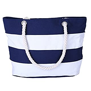 AIYoo Large Beach Bag with Inner Zipper Pocket and Rope Handle,Canvas Tote Bag for Travel,Shopping,Beach,Waterproof Women Shoulder Bag