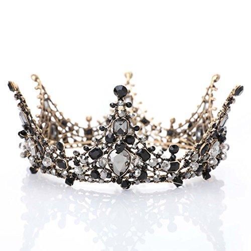 aukmla Krone Tiara Hochzeit Prinzessin Queen Stirnband Barock Vintage Strass Strassbesatz für Frauen und (Queen's Crown)