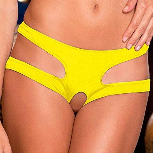 Frauen Sexy Unterwäsche Große Größe Open Crotch Sex Flirt , yellow , (Mini Kostüme Flirt)