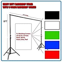 WON Professional Grade Backdrop Cum Light Stand of 8 Feet Height (Black, White, Red, Blue, Green, Blue)