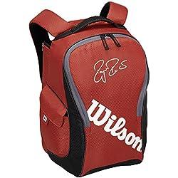 Wilson Federer Team III Backpack - Bolsa para material de tenis, color rojo / negro