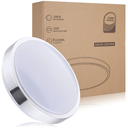 Preisvergleich Produktbild Wasserfest 12W LED Deckenleuchte IP44,ersetzt 100W Glühbirne led Deckenlampe,1050 lm, weiß(4000K),Ø 26cm Wohnzimmerlampe Schlafzimmerleuchte , ideal für Balkon Flur Küche Wohnzimmer