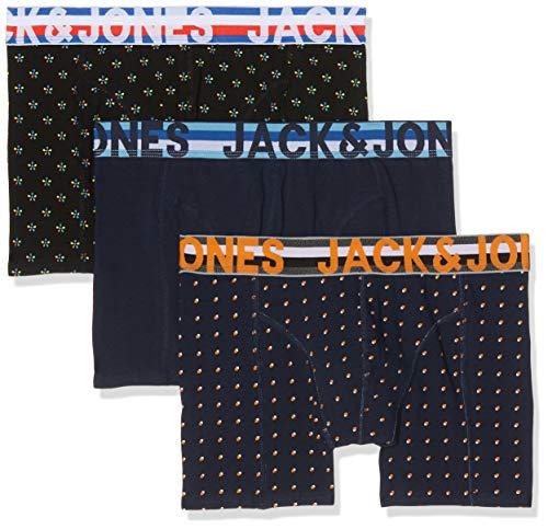 Jack & Jones NOS Jachenrik Trunks 3 Pack Noos Bóxer, (Black Detail: Navy Blazer & Navy Blazer), Medium para Hombre