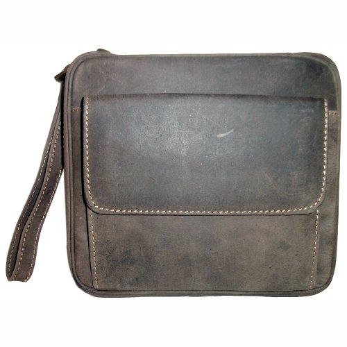 Retro Leder Braun (Pfeifentasche 6er Leder grau-braun antik im Retro-Design)