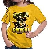 HARIZ  Mädchen T-Shirt Caution Gamer Gamer Gaming Fun Retro WASD E-Sport Plus Geschenkkarte Gold Gelb 140/9-11 Jahre