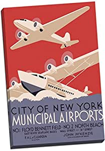 City Of New York Municipal Airports Retro Art Deco Canvas Print Picture Wall Art Large 30x20 Inches