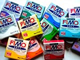 Fimo Oven Bake Clay . Starter set 6 x 56g Blocks in assorted Colours. by Fimo