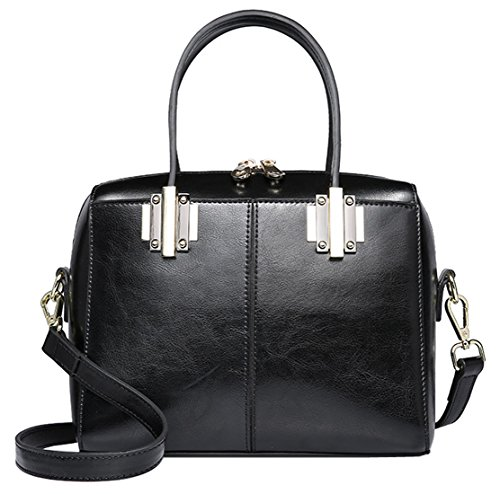 SAIERLONG Neues Damen Schwarz Rindleder-Echtes Leder Damen Handtaschen Schultertaschen