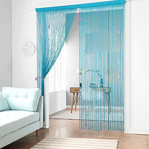 Taiyuhomes Classic Spaghetti String Vorhang Panel für Home Decor und Trennwand mit Ornament Streifen Quaste Design, blau, W90xL200cm(35x79)