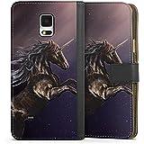 Samsung Galaxy Note 4 Tasche Hülle Flip Case Einhorn Unicorn Schwarz Pferd