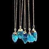 Kristall-Quarz-Anhänger, Regenbogen-Stein, natürlich vergoldeter Schmuck, für Frauen und Mädchen. modisch blau