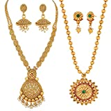 #3: Reeva Traditional South Indian Necklace Combo and Earring Jewellery Set for Women