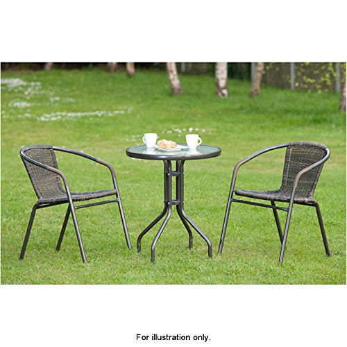 3 Pcs Venice Rattan Effect Bistro Patio Set Table With 2 Chairs Garden Rattan Furniture