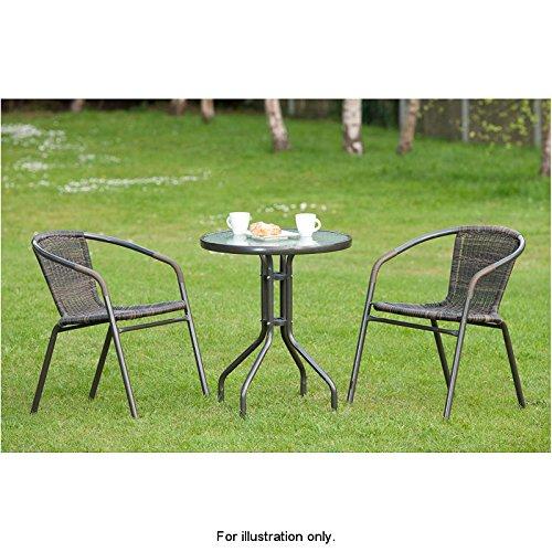 Outdoor Living Venice Set table et 2 chaises de jardin de style bistro en rotin