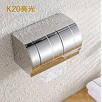 kaifang Dispenser e portarotolo di carta igienica con coperchio, montaggio a parete, in acciaio inox, argento spazzolato