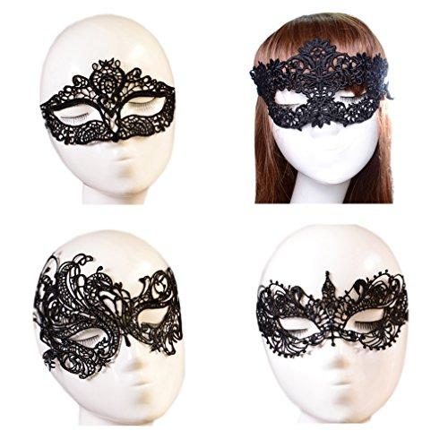 Oktober Elf Frauen Partei Masquerade Kostüm Bar Lace Soft Augenmaske 4pcs (Kostüm Frauen Elf Halloween)