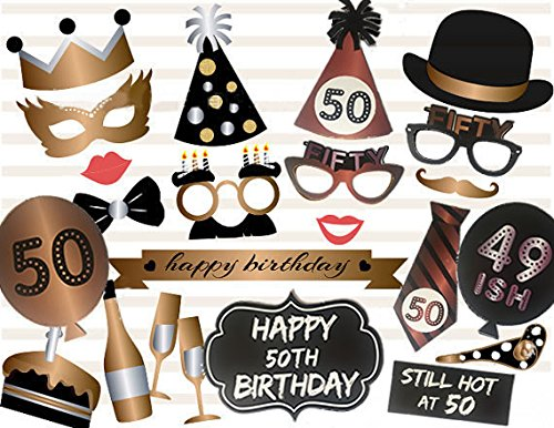 50th Birthday Photo Booth Props Party Favour Kit - 23 Count
