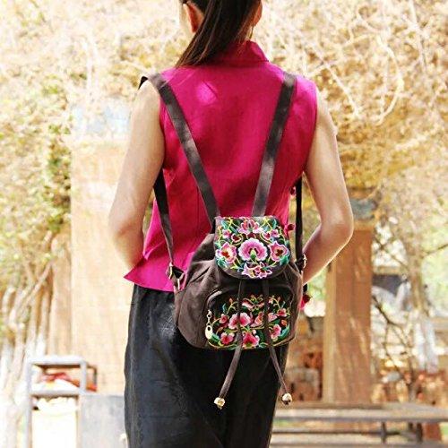 Meine Damen Schulter Rucksack National Wind Stickerei tragbaren kleinen Rucksack Taschen, braune Farbe bestickte Blümchen Black
