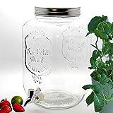 BADA BING Großer Getränkespender 8l aus Glas mit Zapfhahn und Deckel + Wein Fibel (Getränkespender)