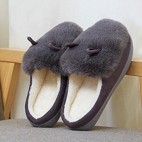 &zhou Automne féminin et oreilles de lapin mignon hiver coton pantoufles chaudes croûte épaisse avec un demi-paquet de pantoufles maison 3940-GRAY