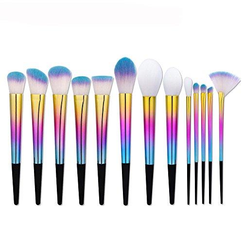 Brosse de maquillage, 8 Pcs / Set Gradient Coloré en forme d'éventail Ombre à Paupières Contour Blush Fondation Mélange de Poudre Fard à Paupières Contour Concealer Beauté Joue Cosmétique Outil Kit 2 Taille