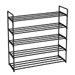 SONGMICS 5-Tier Shoe Rack, Metal Storage Shelves Hold up to 25 Pairs of Shoes, for Living Room, Entryway, Hallway and Cloakroom, 92 x 30 x 93 cm