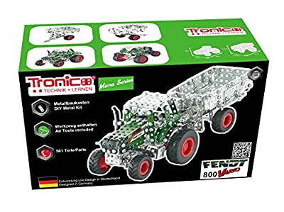 Metal Construction Model Kit, FENDT 800 VARIO, Tractor with trailer, 577 parts, Tronico© Germany, including tools, metal mechanical construction, kids metal kits, metal mechanics kits