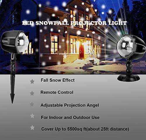 LED Schneeflocke ProjektorLicht Wasserdicht Weihnachten Schneefall Projektor Leuchten mit drahtloser Fernbedienung und Timing Funktion für Außen und Innen Deko,Partys, Weinachten