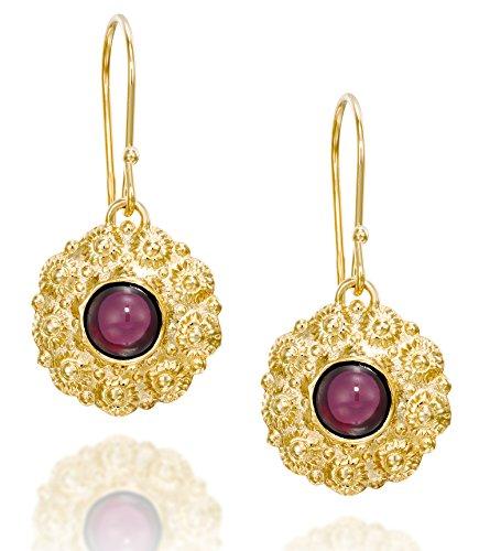 Exquisite rote Granat Blume baumelnde Ohrringe in 14 Karat vergoldetem Sterling Silber Damen Edelstein Schmuck