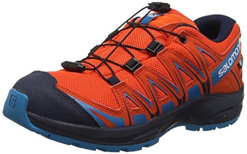 Salomon Kinder XA Pro 3D CSWP J, Trailrunning-Schuhe, Wasserdicht, rot (cherry tomato / navy blazer / fjord blue), Größe 35