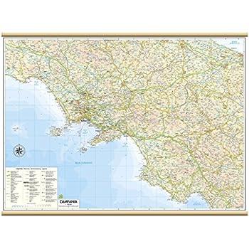Cartina Geografica Politica Della Campania.Carta Geografica Murale Regionale Campania 100x140 Bifacciale