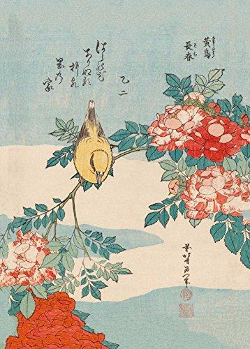 World of Art Hokusai Rosen und Vogel. Japan 18-19. Jahrhundert 250g/m², A3, glänzend, vervielfältigtes Poster Japan Vogel