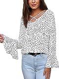 Angashion Damen Mode Sommer Top Mit V-Ausschnitt Chiffon Causual Oberteil Bluse Mit Schnürung Vorne Für Party Ärmel und Taile Weiß S